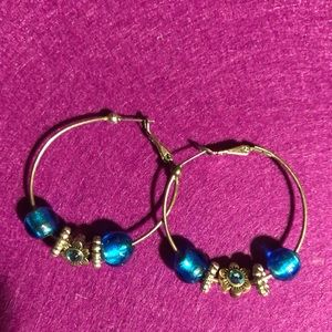 Small Blue & Silver Beaded Hoop Earrings